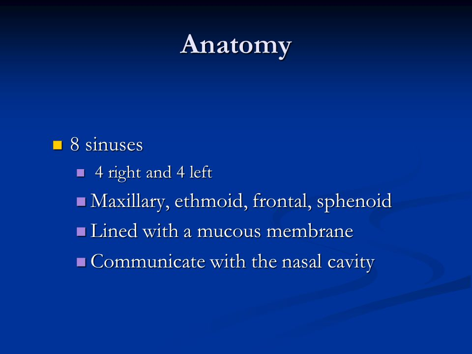 Anatomy 8 sinuses 8 sinuses 4 right and 4 left 4 right and 4 left Maxillary, ethmoid, frontal, sphenoid Maxillary, ethmoid, frontal, sphenoid Lined wi