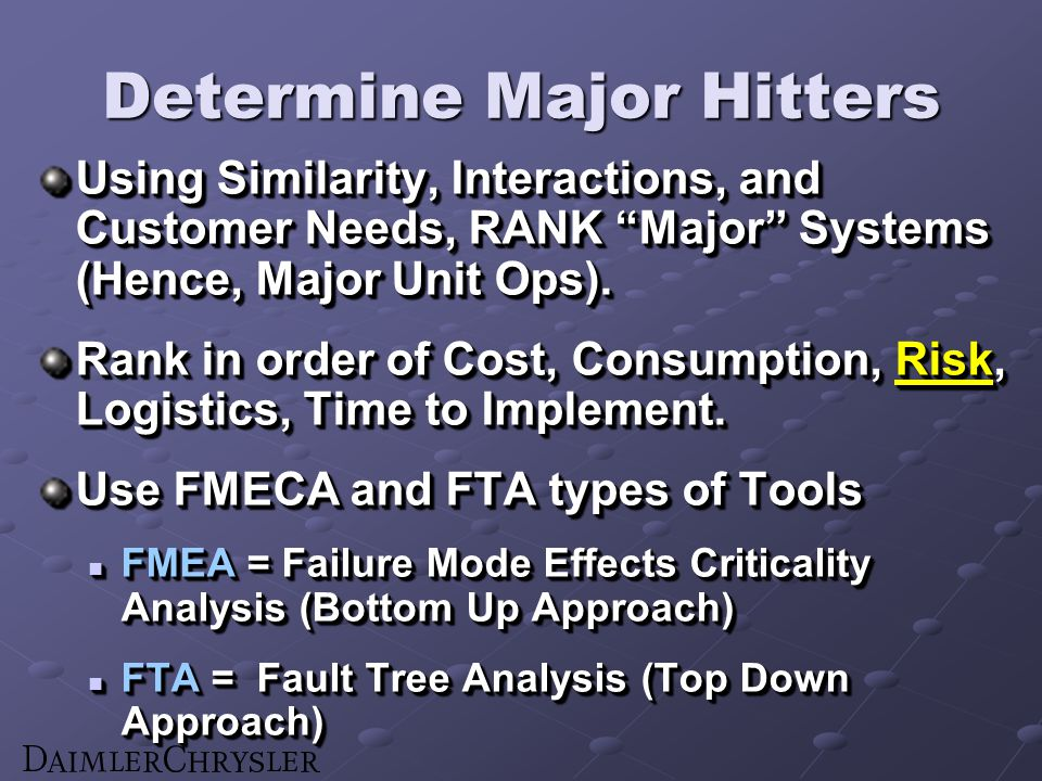 Determine Major Hitters Using Similarity, Interactions, and Customer Needs, RANK Major Systems (Hence, Major Unit Ops).