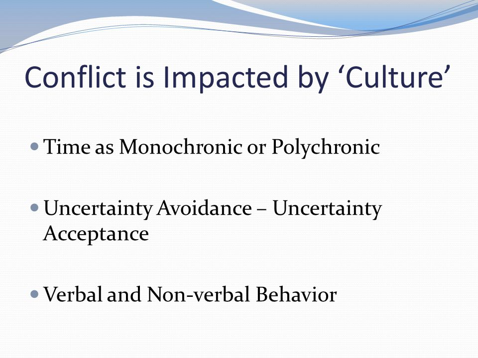 Conflict is Impacted by Culture Time as Monochronic or Polychronic Uncertainty Avoidance – Uncertainty Acceptance Verbal and Non-verbal Behavior