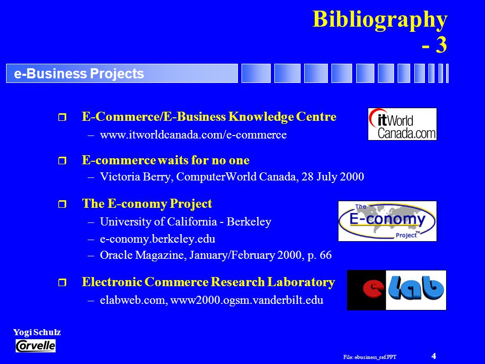 File: ebusiness_ref.PPT 5 Yogi Schulz e-Business Projects Bibliography - 4 r Exchange: Breaking the B2B Barrier –Oracle Magazine, January/February 2000, p.