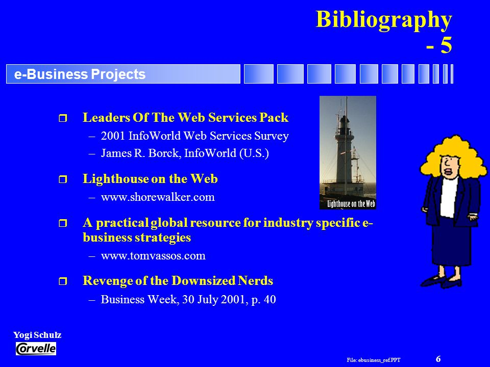 File: ebusiness_ref.PPT 6 Yogi Schulz e-Business Projects Bibliography - 5 r Leaders Of The Web Services Pack –2001 InfoWorld Web Services Survey –James R.