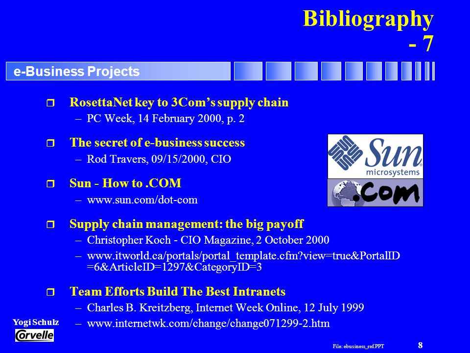 File: ebusiness_ref.PPT 8 Yogi Schulz e-Business Projects Bibliography - 7 r RosettaNet key to 3Coms supply chain –PC Week, 14 February 2000, p.