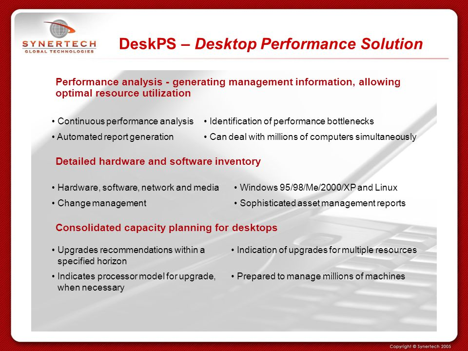 DeskPS – Desktop Performance Solution Performance analysis - generating management information, allowing optimal resource utilization Continuous perfo