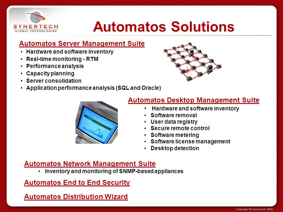 Automatos Solutions Automatos Server Management Suite Hardware and software inventory Real-time monitoring - RTM Performance analysis Capacity plannin