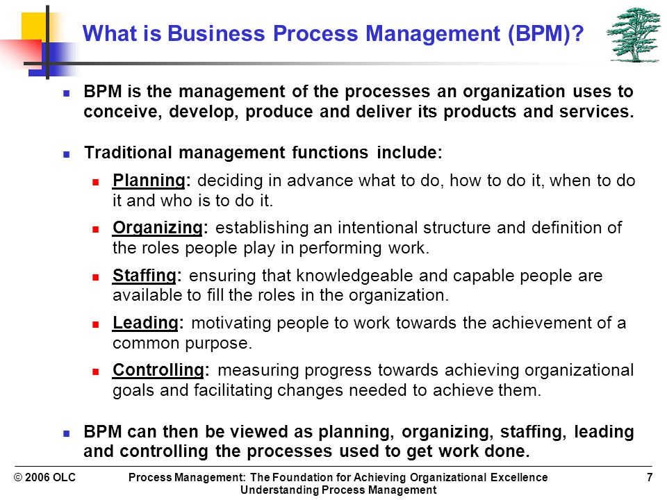 Process Management: The Foundation for Achieving Organizational Excellence Understanding Process Management © 2006 OLC7 What is Business Process Manag