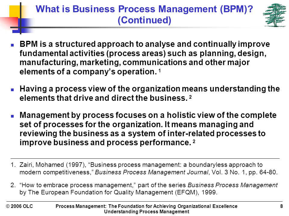 Process Management: The Foundation for Achieving Organizational Excellence Understanding Process Management © 2006 OLC8 What is Business Process Manag