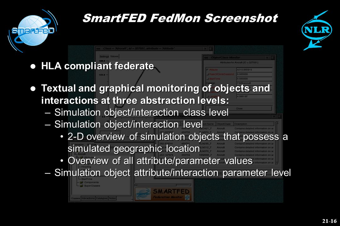 SmartFED FedMon Screenshot l HLA compliant federate l Textual and graphical monitoring of objects and interactions at three abstraction levels: –Simul