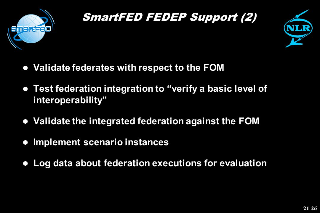 SmartFED FEDEP Support (2) l Validate federates with respect to the FOM l Test federation integration to verify a basic level of interoperability l Validate the integrated federation against the FOM l Implement scenario instances l Log data about federation executions for evaluation 21-26