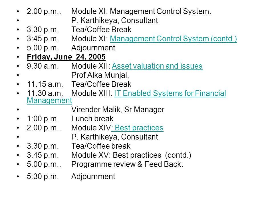 2.00 p.m..Module XI: Management Control System. P.
