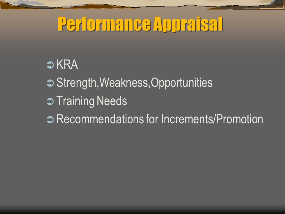 KRA Strength,Weakness,Opportunities Training Needs Recommendations for Increments/Promotion Performance Appraisal