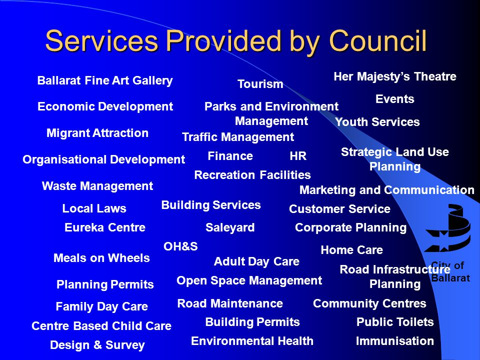City of Ballarat Services Provided by Council Economic Development Tourism Events Strategic Land Use Planning Migrant Attraction HRFinance Marketing a