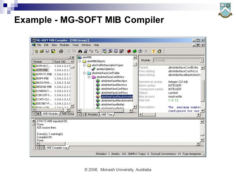 © 2006, Monash University, Australia Example - MG-SOFT MIB Compiler