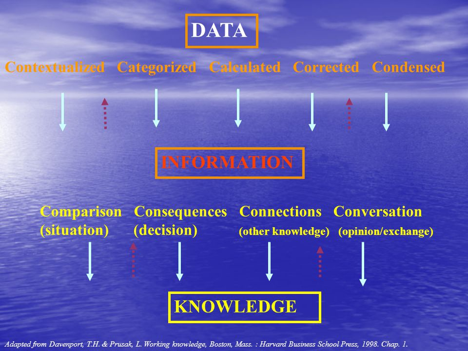 DATA INFORMATION KNOWLEDGE Contextualized Categorized Calculated Corrected Condensed Comparison Consequences Connections Conversation (situation)(deci
