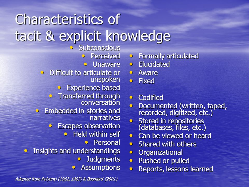 Characteristics of tacit & explicit knowledge Subconscious Subconscious Perceived Perceived Unaware Unaware Difficult to articulate or unspoken Diffic