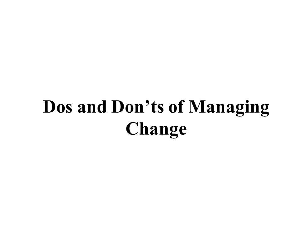 Dos and Donts of Managing Change