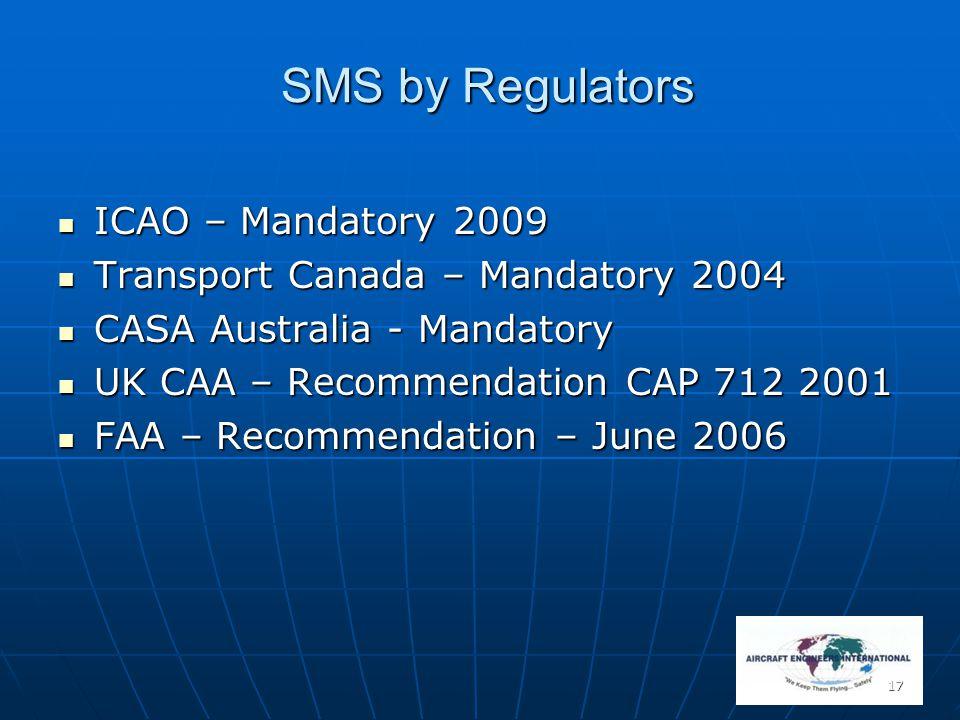 17 SMS by Regulators ICAO – Mandatory 2009 ICAO – Mandatory 2009 Transport Canada – Mandatory 2004 Transport Canada – Mandatory 2004 CASA Australia -