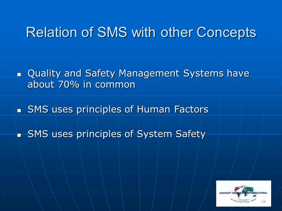 19 Relation of SMS with other Concepts Quality and Safety Management Systems have about 70% in common Quality and Safety Management Systems have about