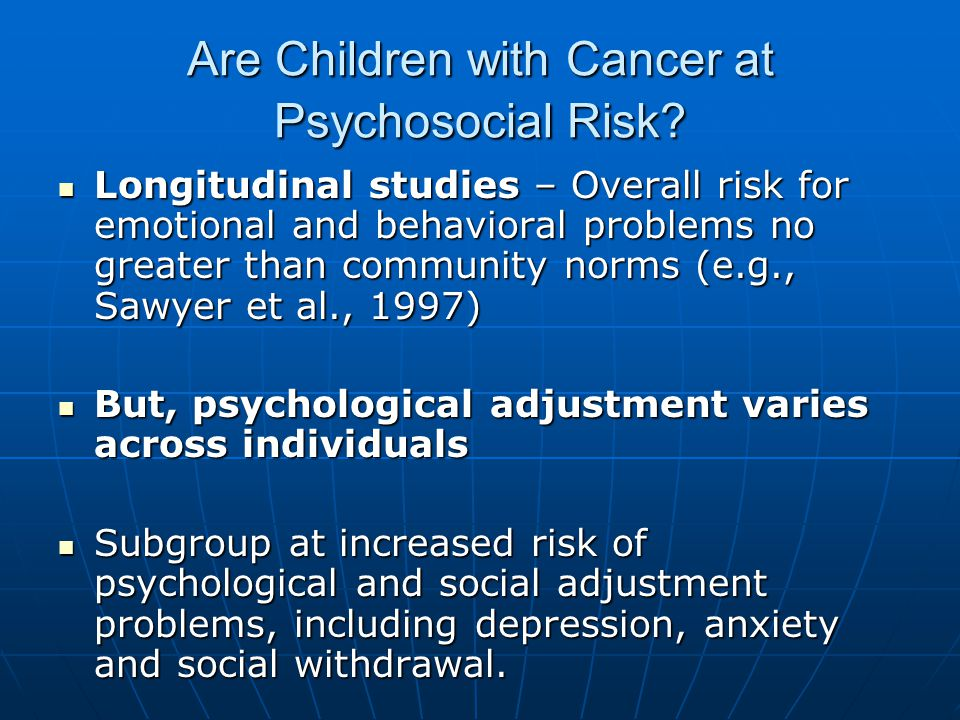 Are Children with Cancer at Psychosocial Risk.
