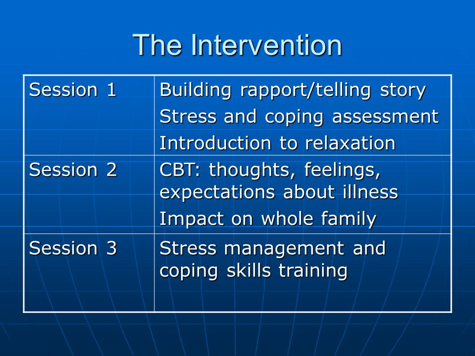 The Intervention Session 1 Building rapport/telling story Stress and coping assessment Introduction to relaxation Session 2 CBT: thoughts, feelings, expectations about illness Impact on whole family Session 3 Stress management and coping skills training