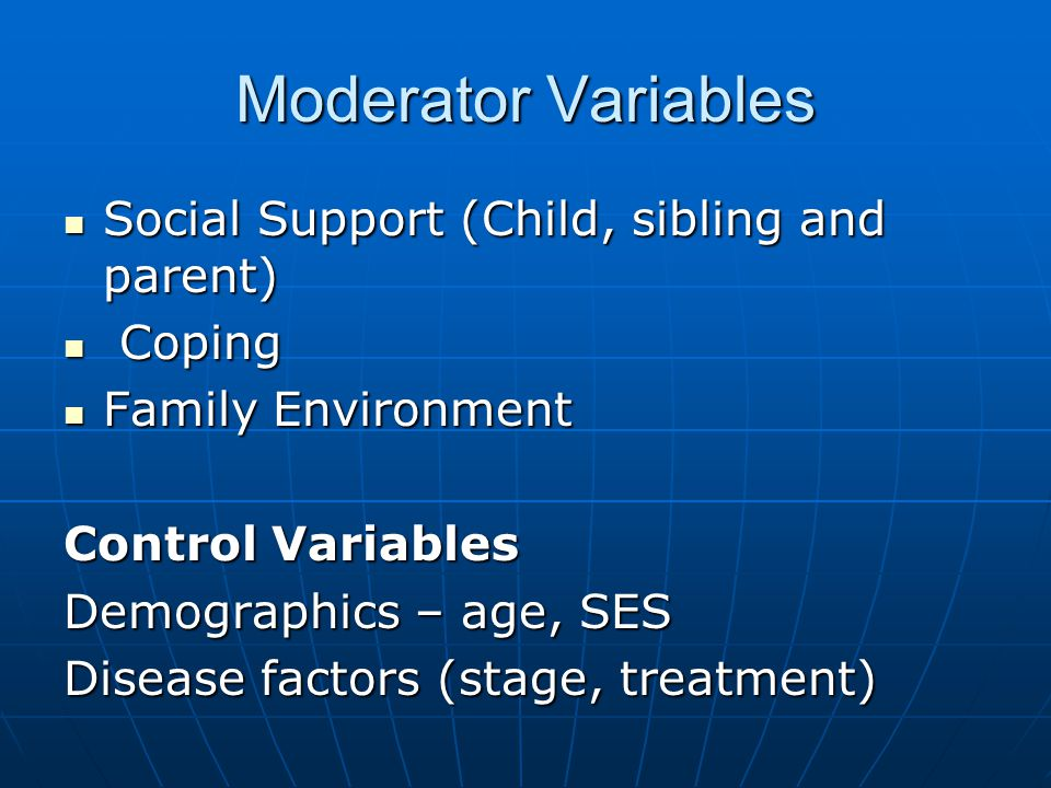Moderator Variables Social Support (Child, sibling and parent) Social Support (Child, sibling and parent) Coping Coping Family Environment Family Environment Control Variables Demographics – age, SES Disease factors (stage, treatment)