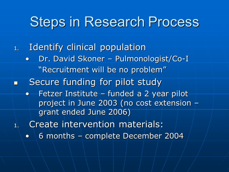 Steps in Research Process 1. Identify clinical population Dr.