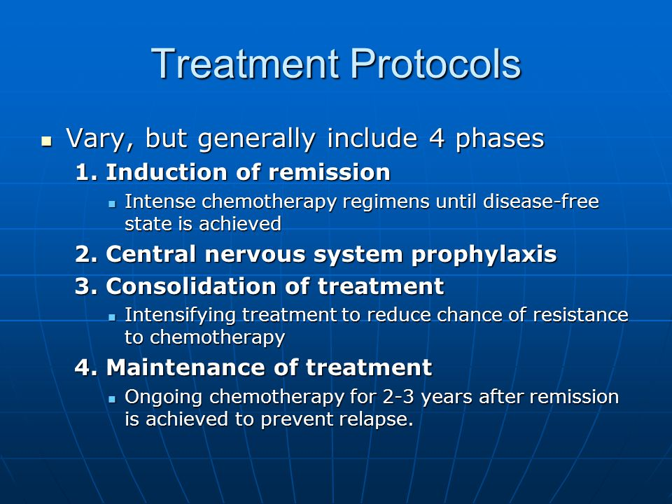 Treatment Protocols Vary, but generally include 4 phases Vary, but generally include 4 phases 1.