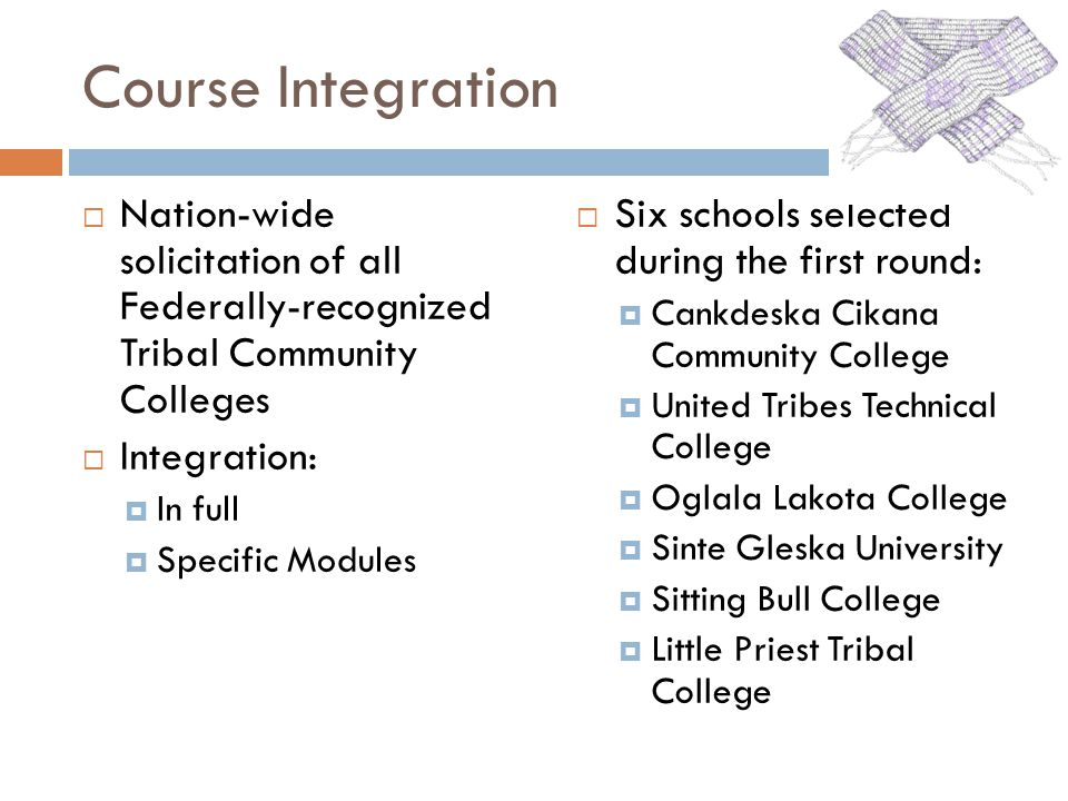 Course Integration Nation-wide solicitation of all Federally-recognized Tribal Community Colleges Integration: In full Specific Modules Six schools selected during the first round: Cankdeska Cikana Community College United Tribes Technical College Oglala Lakota College Sinte Gleska University Sitting Bull College Little Priest Tribal College