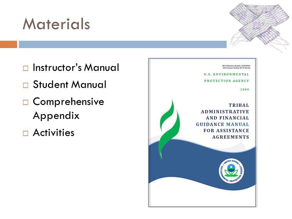 Materials Instructors Manual Student Manual Comprehensive Appendix Activities