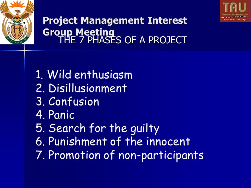 Project Management Interest Group Meeting 1. Wild enthusiasm 2.