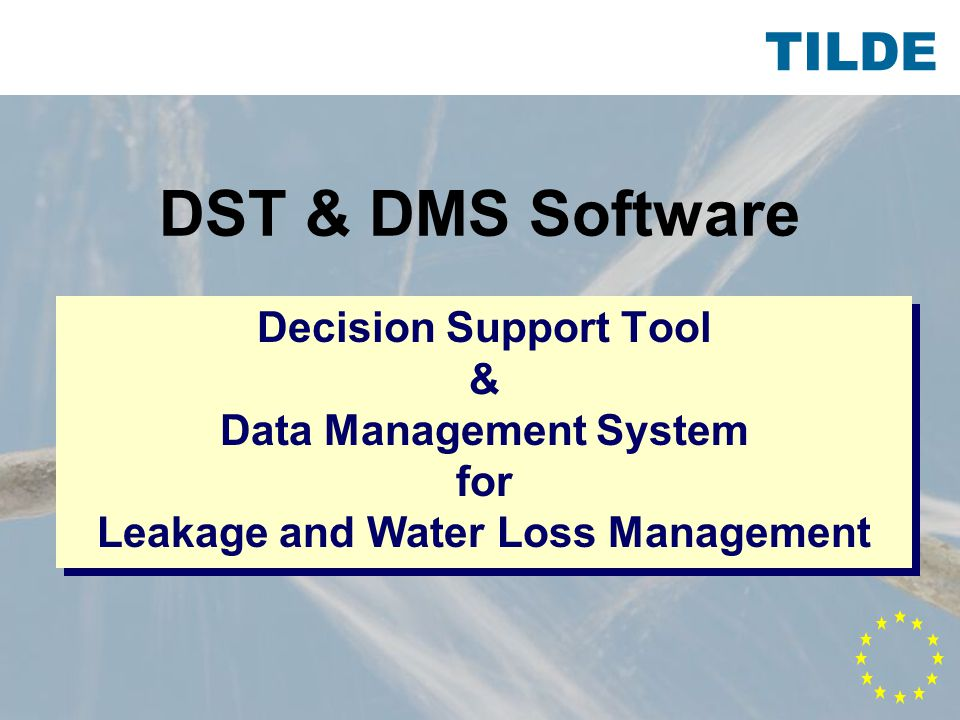 TILDE DST & DMS Software Decision Support Tool & Data Management System for Leakage and Water Loss Management