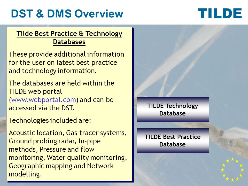 TILDE DST & DMS Overview TILDE DMS Tilde DMS or Data Management System Manages water network data from: flow meters pressure meters acoustic devices Records and reports information on: leaks leakage detection activities repairs Analyses: flow data for prioritizing zones Tilde DMS or Data Management System Manages water network data from: flow meters pressure meters acoustic devices Records and reports information on: leaks leakage detection activities repairs Analyses: flow data for prioritizing zones