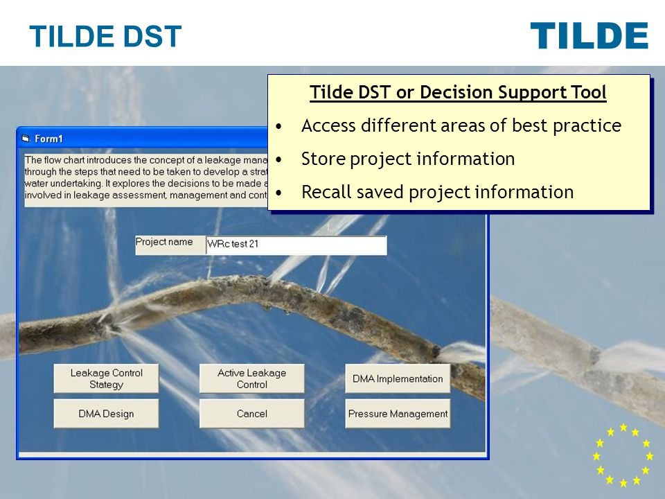 TILDE TILDE DST Tilde DST or Decision Support Tool Access different areas of best practice Store project information Recall saved project information Tilde DST or Decision Support Tool Access different areas of best practice Store project information Recall saved project information