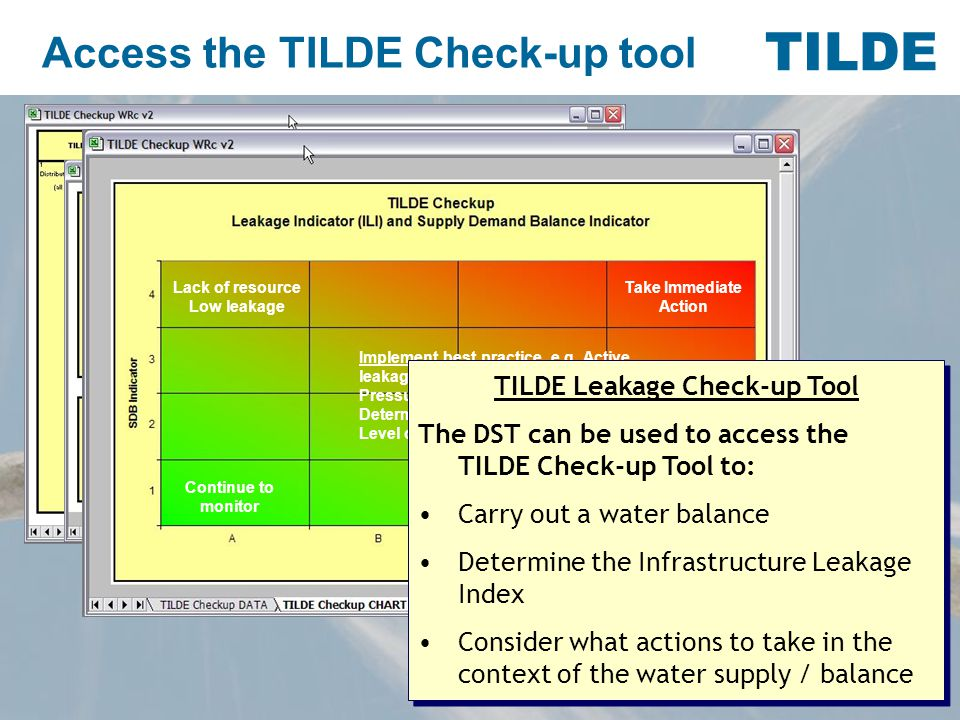 TILDE Access the TILDE Check-up tool Lack of resource Low leakage Continue to monitor Implement best practice, e.g.