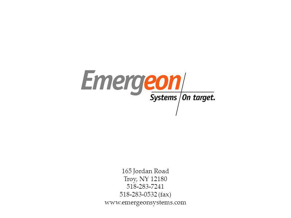 165 Jordan Road Troy, NY 12180 518-283-7241 518-283-0532 (fax) www.emergeonsystems.com
