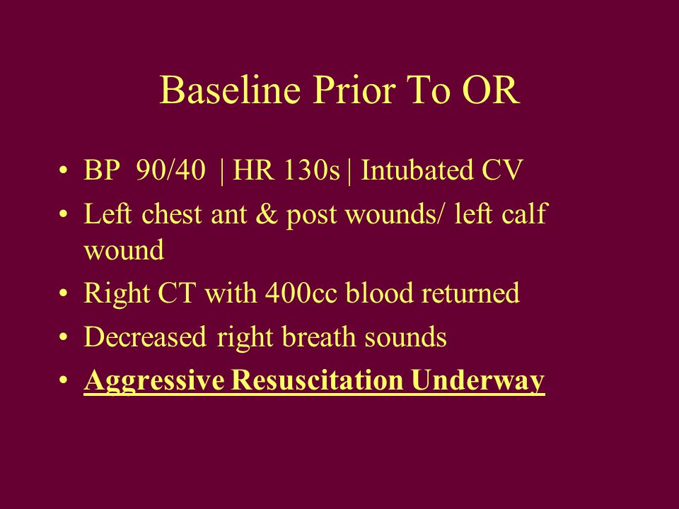 Initial Status After OR Arrival for Thoracotomy and Ex-Lap BP 30/15   HR 106   SaO 2 98 % Resuscitation continuing Multiple IV Access attained –Right rad A- line –Right 16g and 18g iv –Left 16g iv –Right 16g IJ with CVP monitoring
