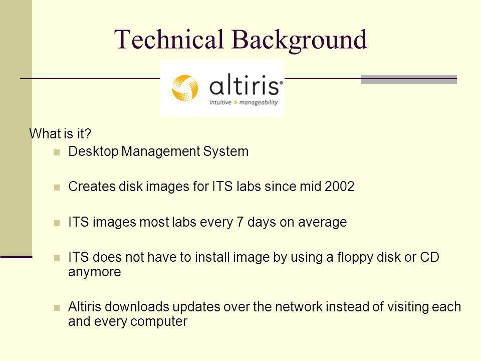 Technical Background What is it? Desktop Management System Creates disk images for ITS labs since mid 2002 ITS images most labs every 7 days on averag