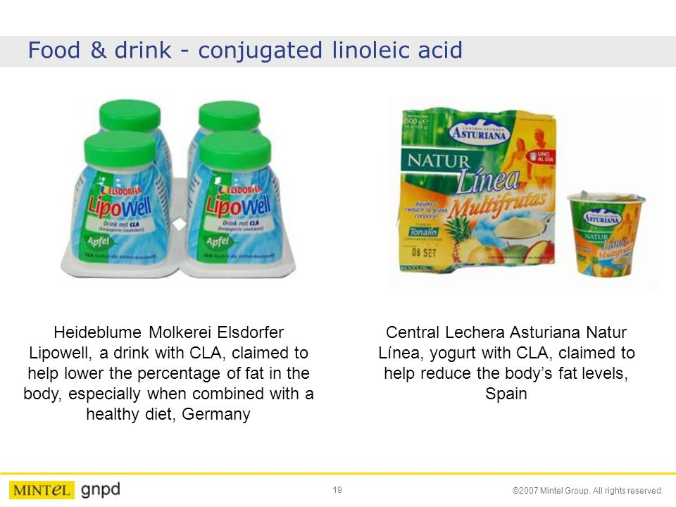 19 ©2007 Mintel Group. All rights reserved. Food & drink - conjugated linoleic acid Heideblume Molkerei Elsdorfer Lipowell, a drink with CLA, claimed