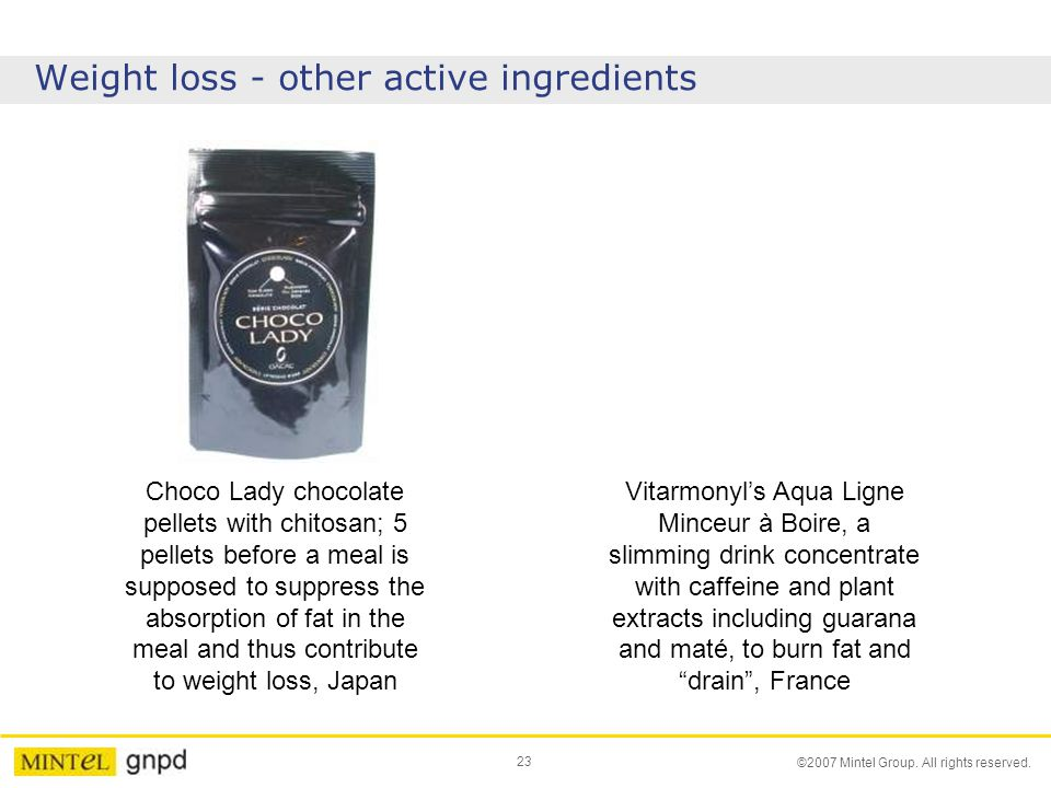 23 ©2007 Mintel Group. All rights reserved. Weight loss - other active ingredients Choco Lady chocolate pellets with chitosan; 5 pellets before a meal
