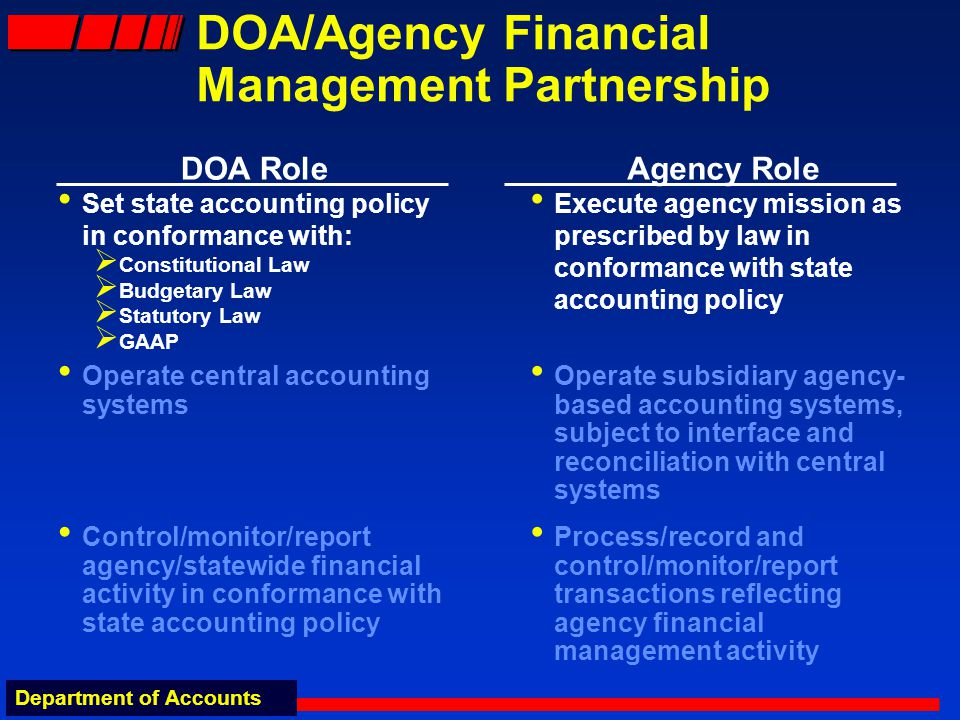 Department of Accounts DOA/Agency Financial Management Partnership DOA Role Set state accounting policy in conformance with: Constitutional Law Budget
