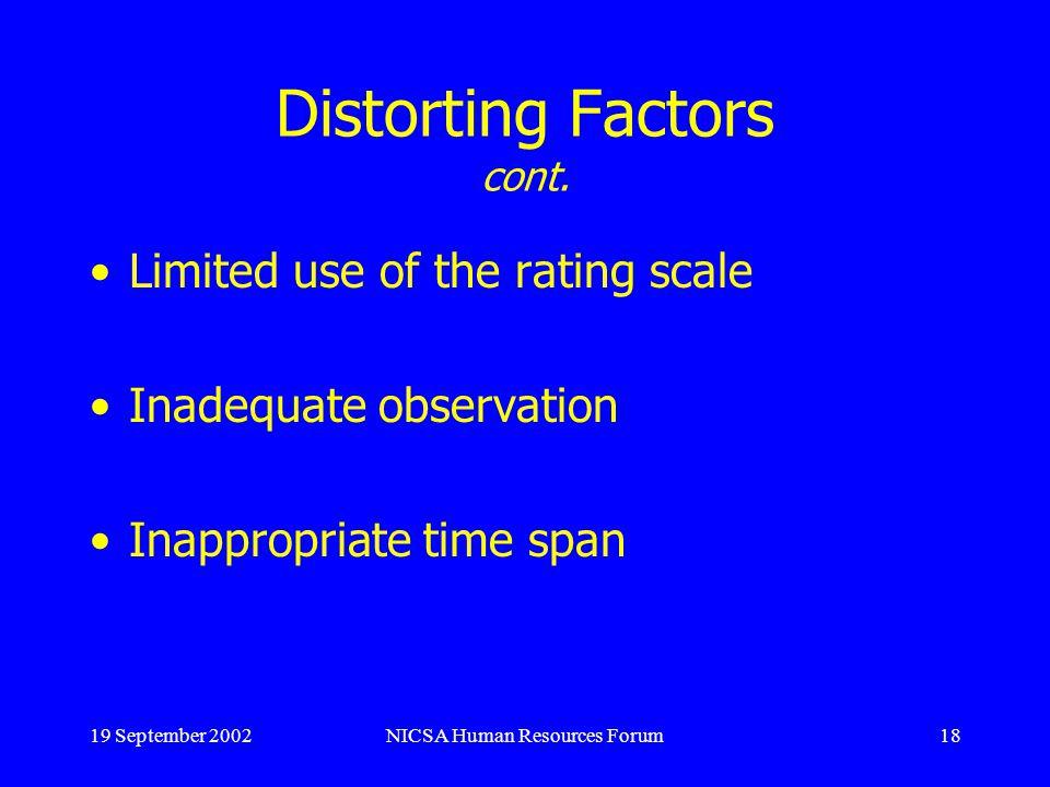 19 September 2002NICSA Human Resources Forum18 Distorting Factors cont.