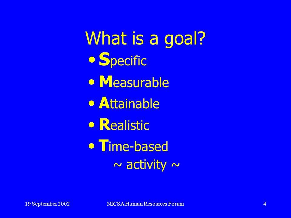 19 September 2002NICSA Human Resources Forum15 Effective Feedback cont.