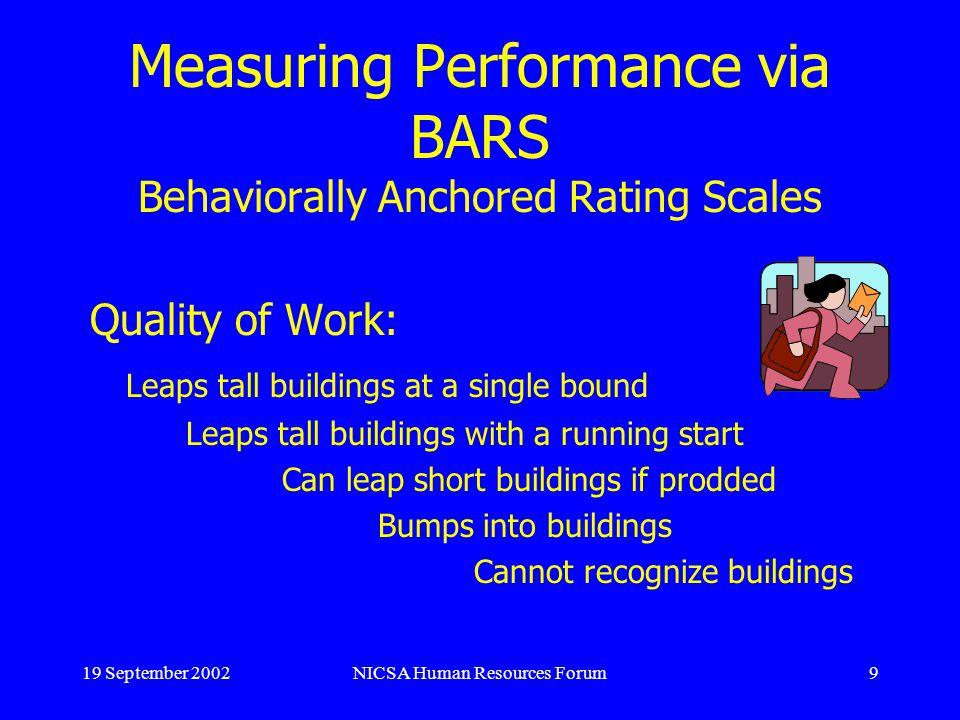 19 September 2002NICSA Human Resources Forum10 BARS cont.