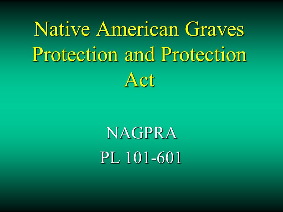 Native American Graves Protection and Protection Act NAGPRA PL 101-601