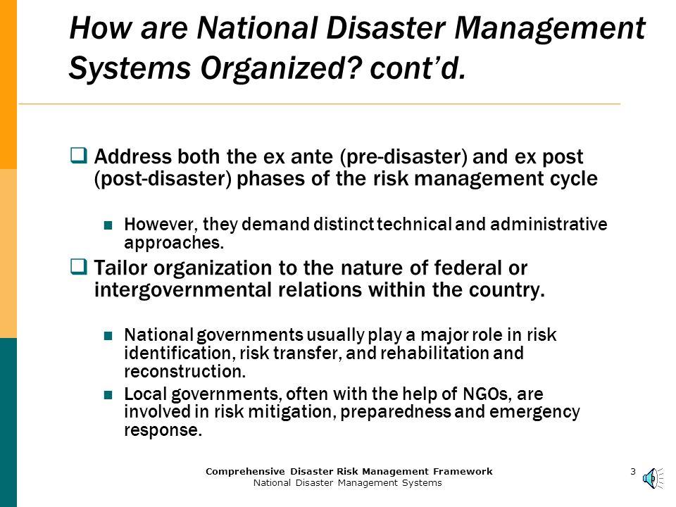 2Comprehensive Disaster Risk Management Framework National Disaster Management Systems How are National Disaster Management Systems Organized.