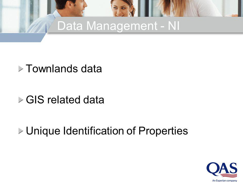 Data Management - NI Townlands data GIS related data Unique Identification of Properties