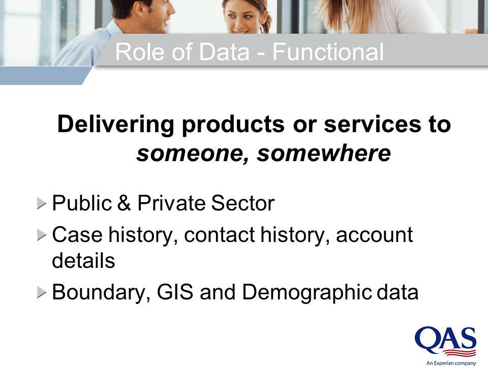 Role of Data - Functional Delivering products or services to someone, somewhere Public & Private Sector Case history, contact history, account details