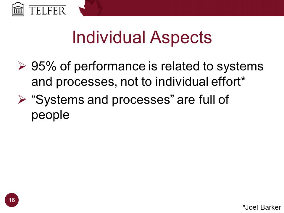 Individual Aspects 95% of performance is related to systems and processes, not to individual effort* Systems and processes are full of people *Joel Barker 16