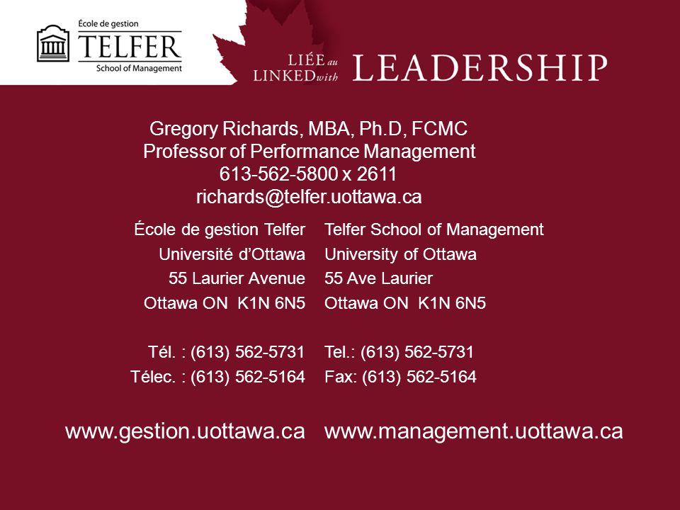École de gestion Telfer Université dOttawa 55 Laurier Avenue Ottawa ON K1N 6N5 Tél. : (613) 562-5731 Télec. : (613) 562-5164 www.gestion.uottawa.ca Te