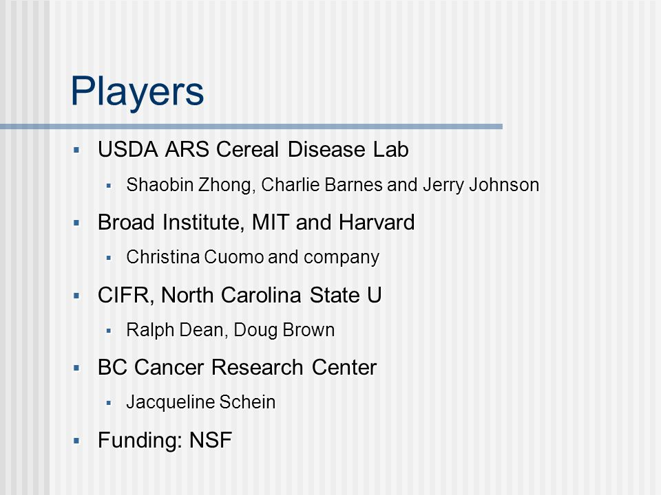 Players USDA ARS Cereal Disease Lab USDA ARS Cereal Disease Lab Shaobin Zhong, Charlie Barnes and Jerry Johnson Shaobin Zhong, Charlie Barnes and Jerry Johnson Broad Institute, MIT and Harvard Broad Institute, MIT and Harvard Christina Cuomo and company Christina Cuomo and company CIFR, North Carolina State U CIFR, North Carolina State U Ralph Dean, Doug Brown Ralph Dean, Doug Brown BC Cancer Research Center BC Cancer Research Center Jacqueline Schein Jacqueline Schein Funding: NSF Funding: NSF