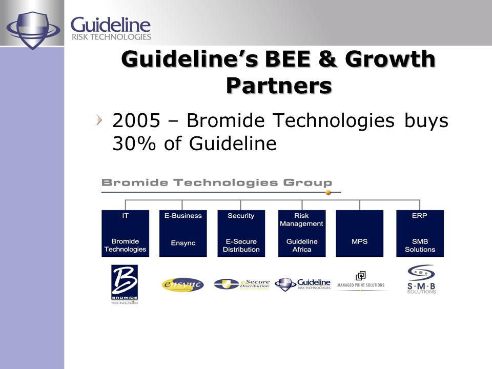 2006 Bromide bought out by EOH EOH supports a staff of over a 1000 employees EOH is a listed ICT company specialising in enterprise business solutions Guideline expands service capabilities through EOH acquisition